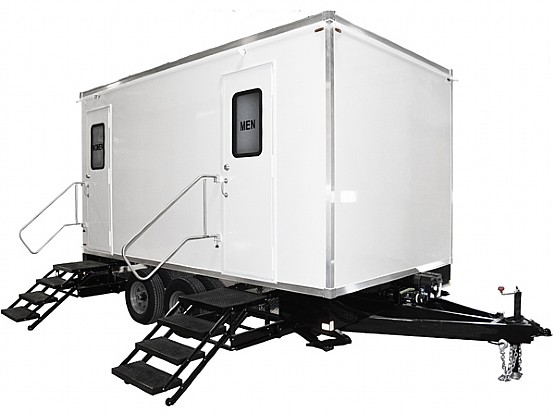 exterior of luxury portable restrooms for sale